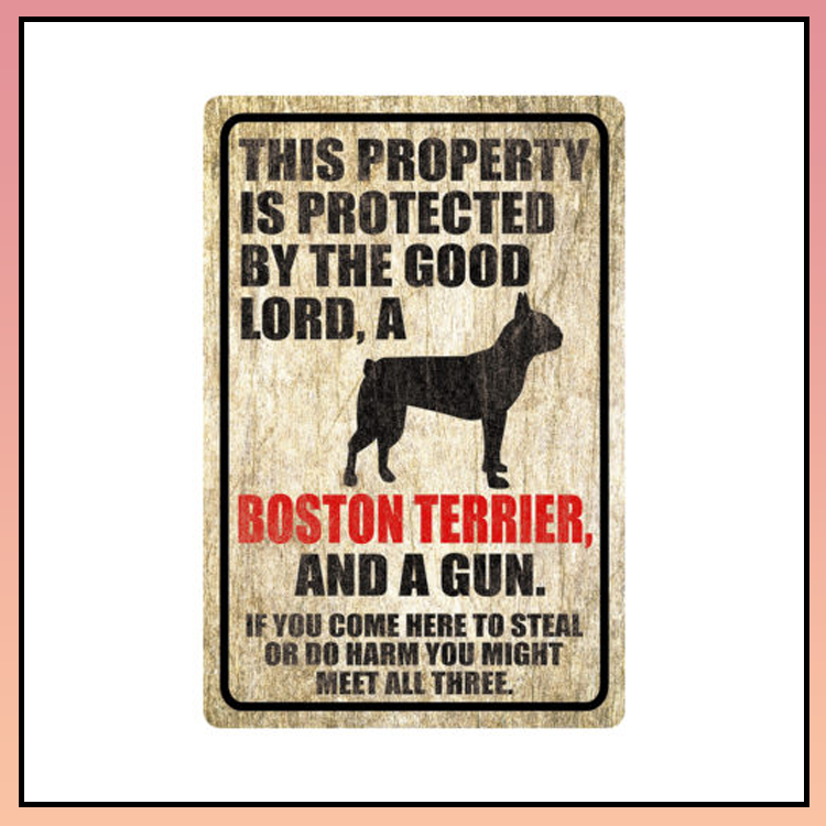 5 This property is protected by good lord a Boston terrier dog Metal Sign 4 1