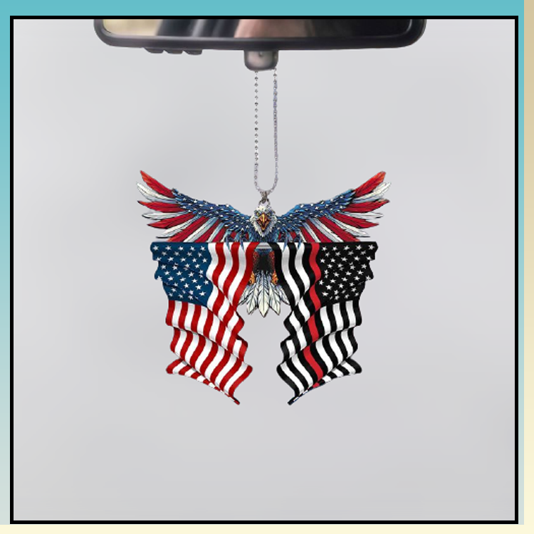 Red line thin firefighter United States American Eagle Flag car hanging ornament