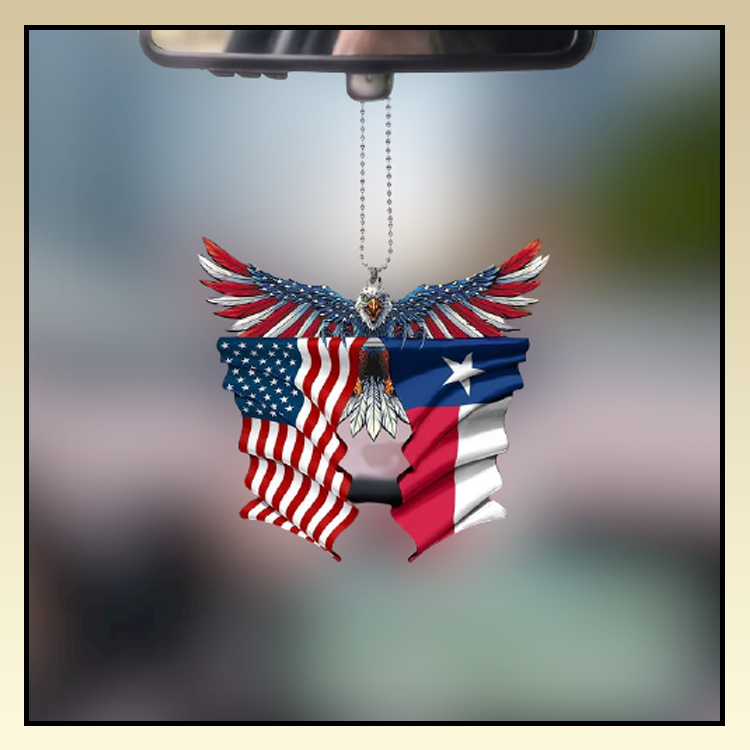 Texas United States American Eagle Flag car hanging ornament