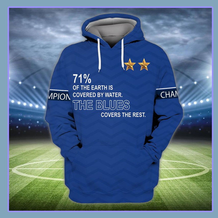 71% of the earth is covered by water The Blues covers the rest 3d hoodie and shirt