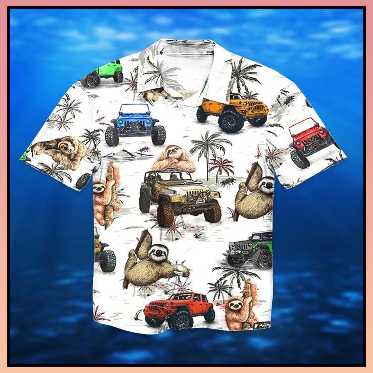 8 Jeep ocean sloth hawaiian shirt and short 1