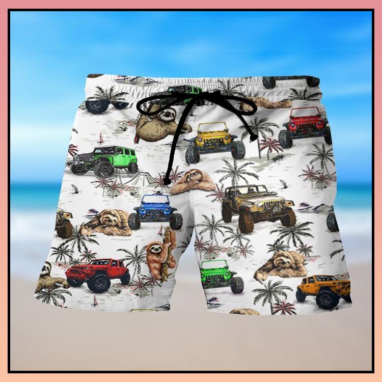 8 Jeep ocean sloth hawaiian shirt and short 2