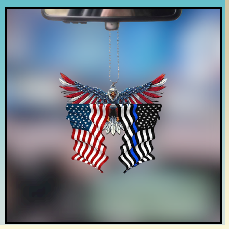 Thin blue line flag in honor of law enforcement United State American Eagle flag car hanging ornament