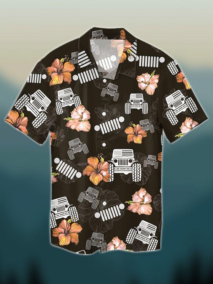 9 Jeep hibiscus tropical hawaiian shirt and short 1