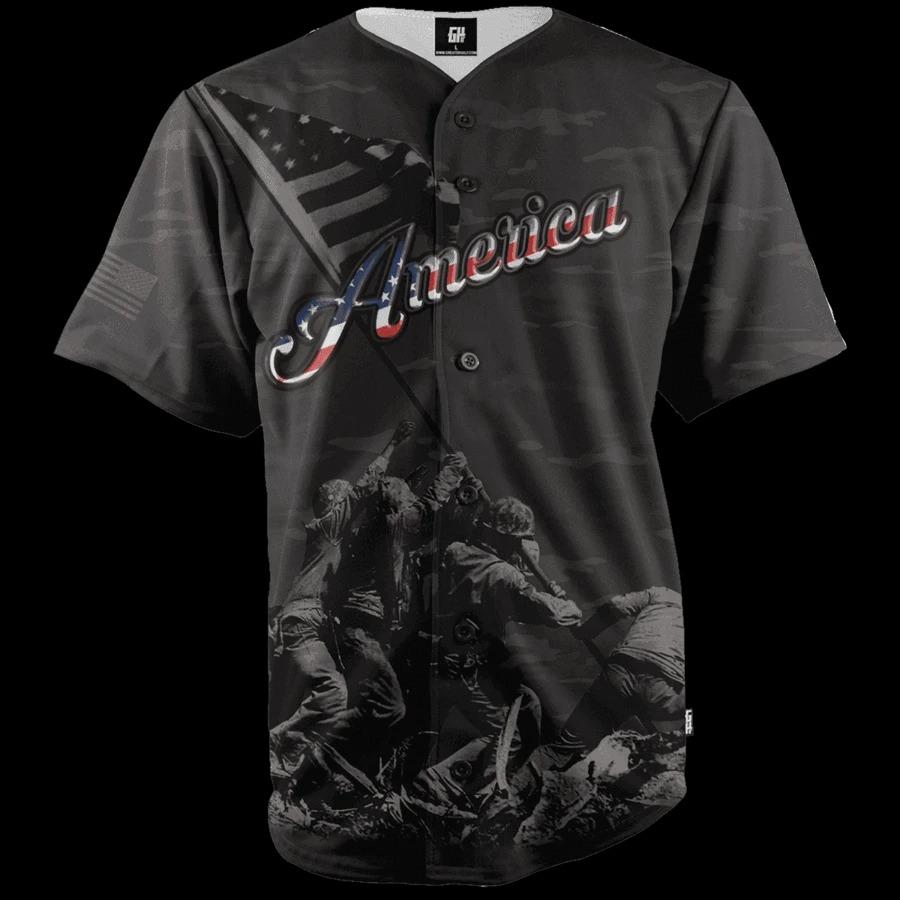American Black Camo baseball Jersey2