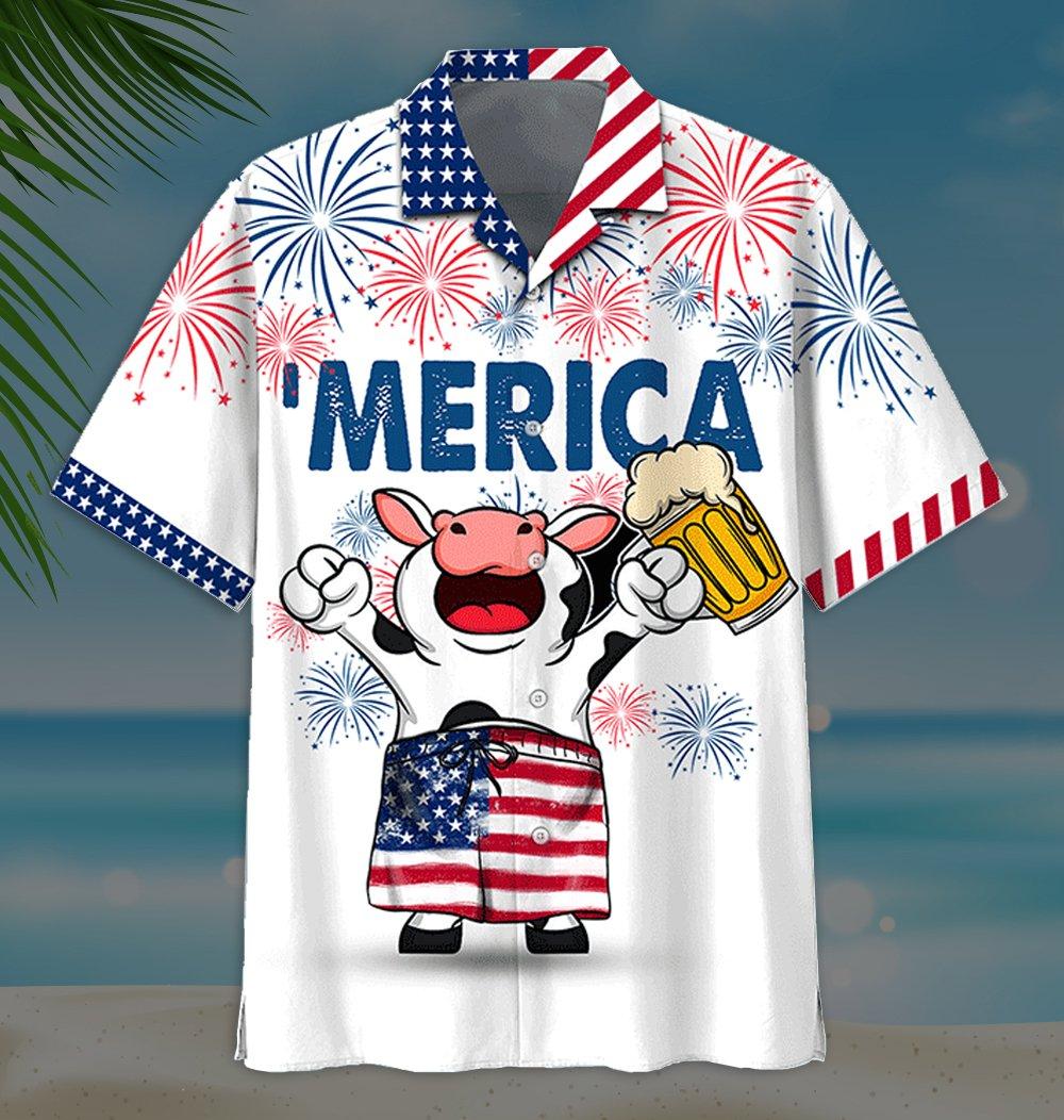 American Flag Firework Cow With Beer Hawaiian Shirt and Short2