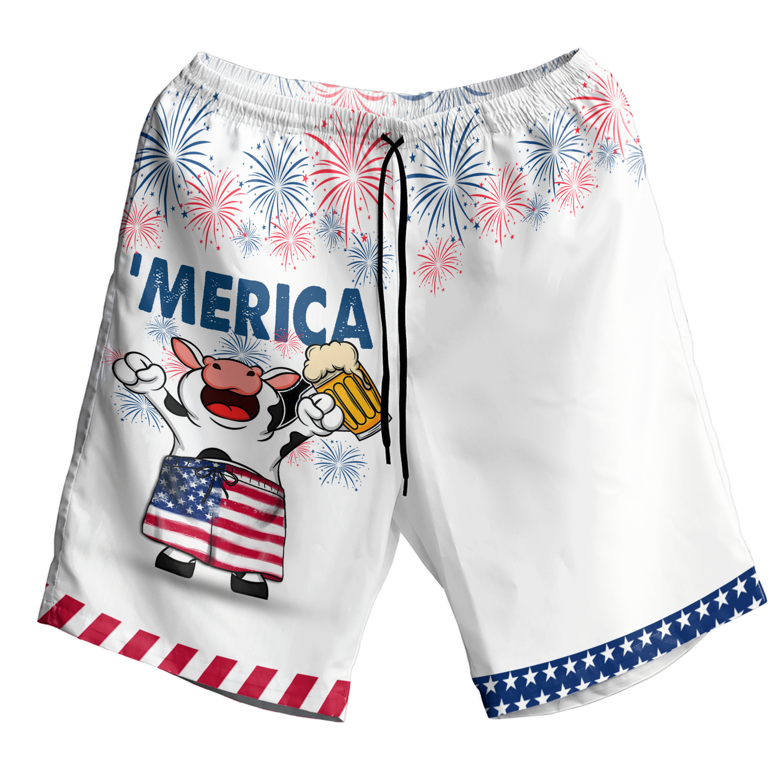 American Flag Firework Cow With Beer Hawaiian Shirt and Short3
