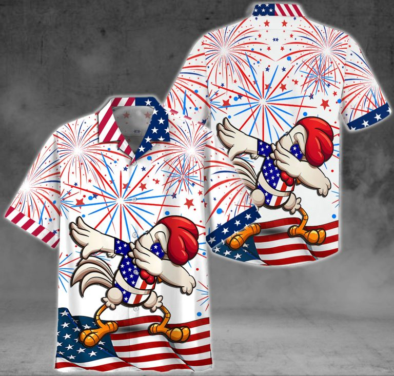American Flag Fireworks Chicken Hawaiian Shirt and Short1