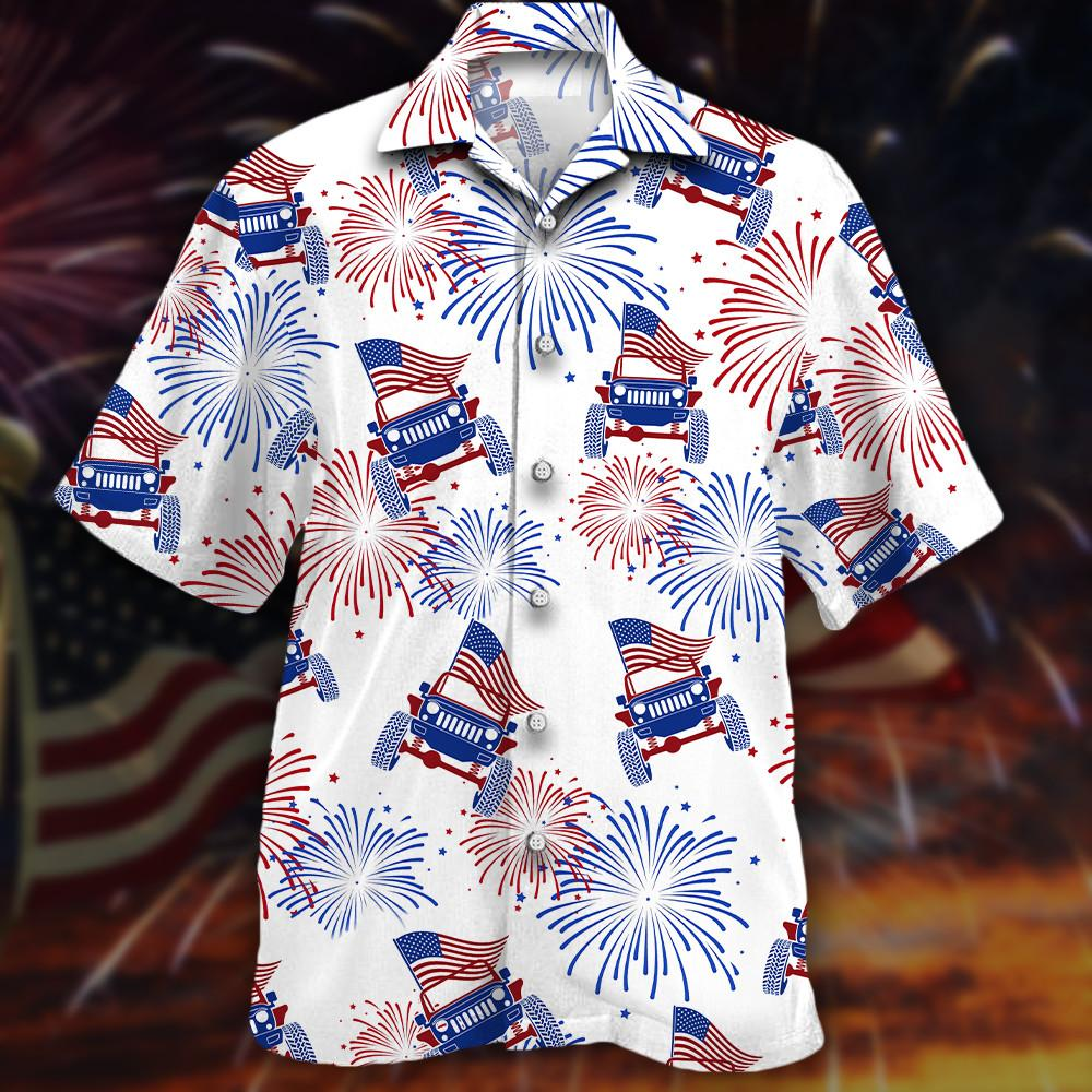 American Flag Fireworks Jeeps Hawaiian Shirt1