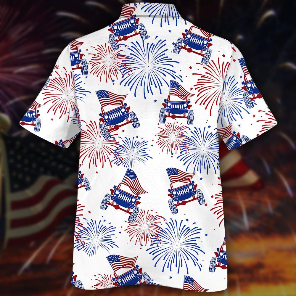 American Flag Fireworks Jeeps Hawaiian Shirt2