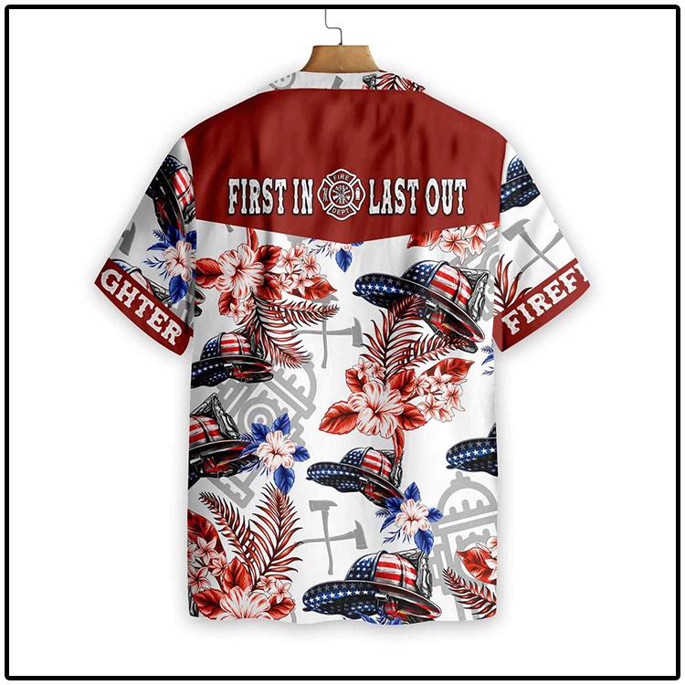 American Flag Helmet Firefighter Seamless Hawaiian Shirt3
