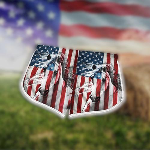 American Flag Horse Hawaii Shorts1