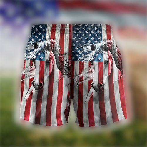 American Flag Horse Hawaii Shorts3