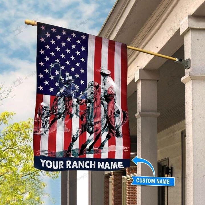 American Flag Team Roping Custom Name Flag1