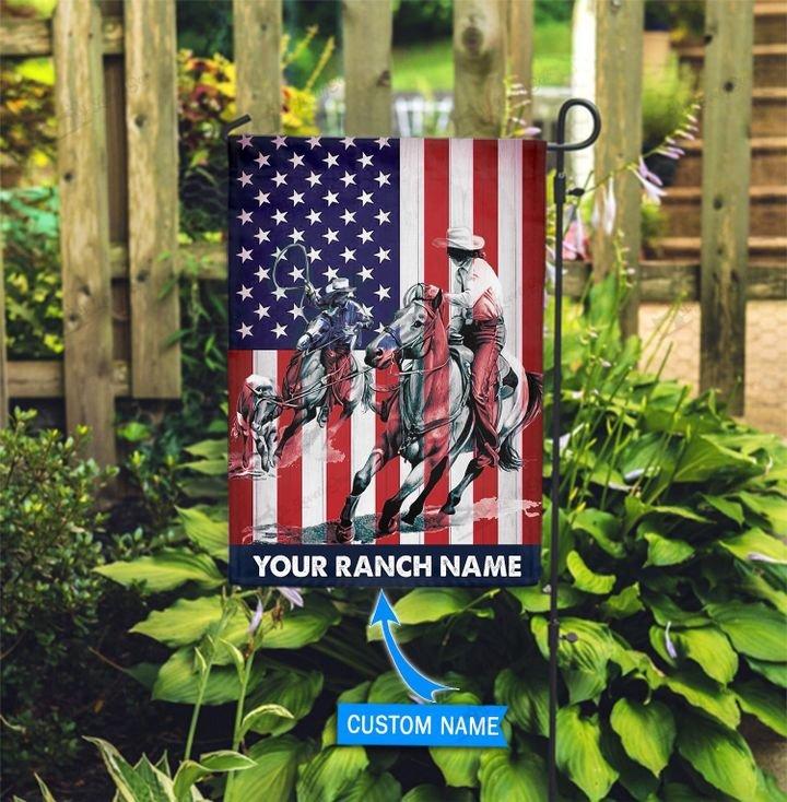 American Flag Team Roping Custom Name Flag2