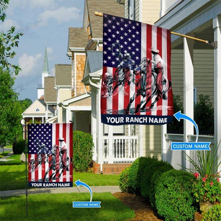 American Flag Team Roping Custom Name Flag3