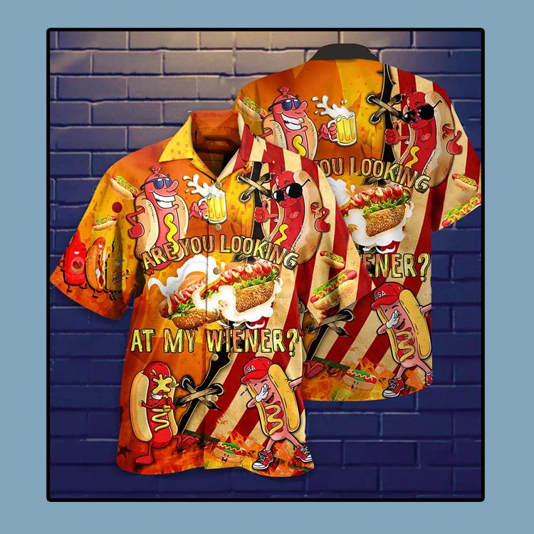 Are you looking at my wiener Hawaiian shirt1