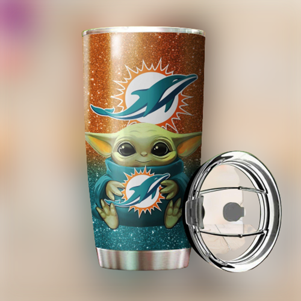 Baby Yoda Hug Miami Dolphins 20oz Tumbler1