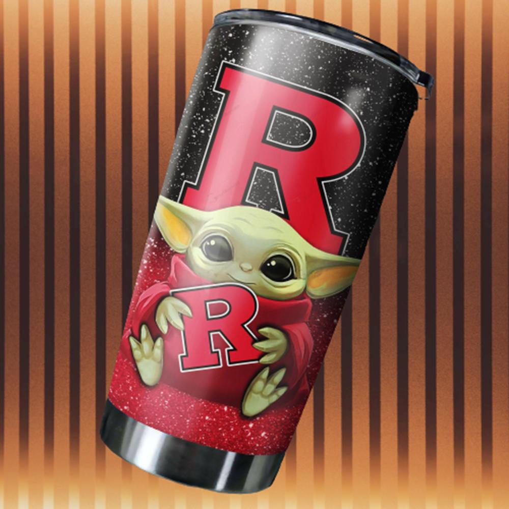 Baby Yoda Hug Rutgers Scarlet Knights 20oz Tumbler2