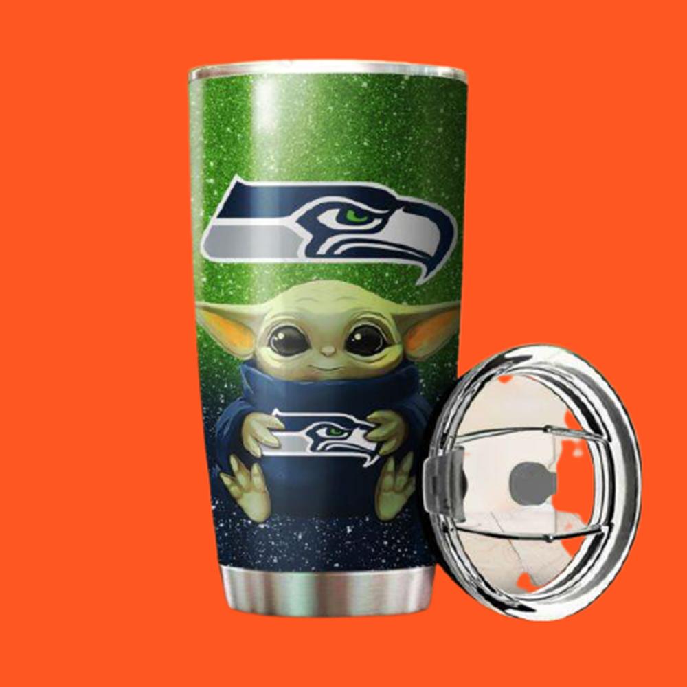Baby Yoda Hug Seattle Seahawks 20oz Tumbler6
