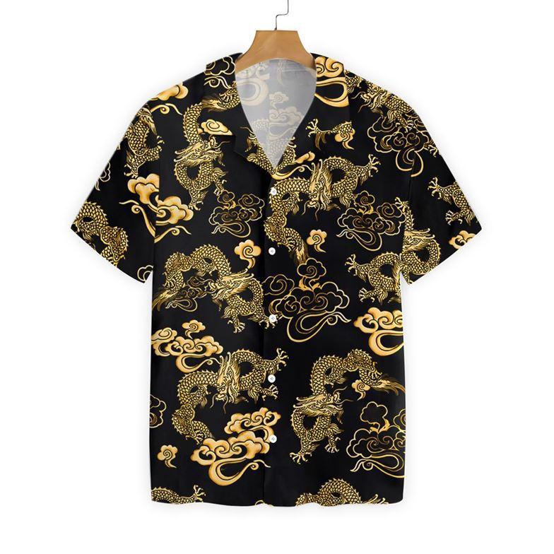 Black Gold Oriental Dragon Hawaiian Shirt2