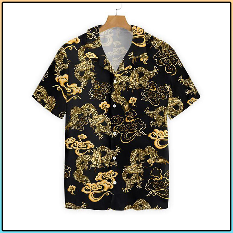 Black Gold Oriental Dragon Hawaiian Shirt4 1