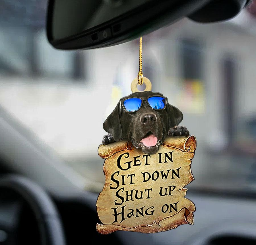Black labrador retrieve get in sit down shut up hang out ornament1