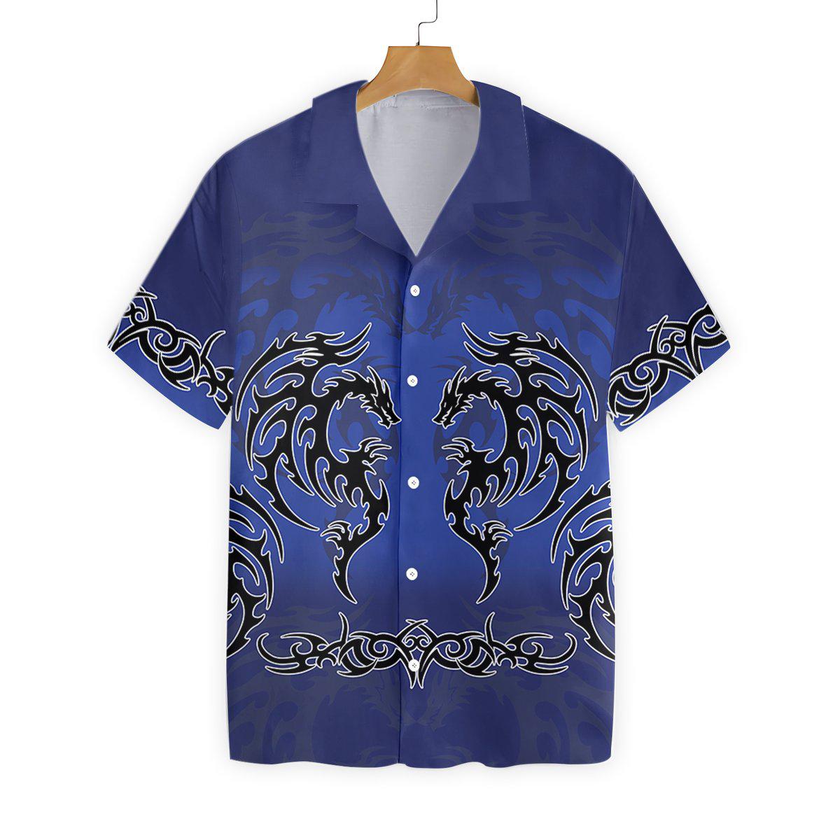 Blue Tribal Dragon Hawaiian Shirt2