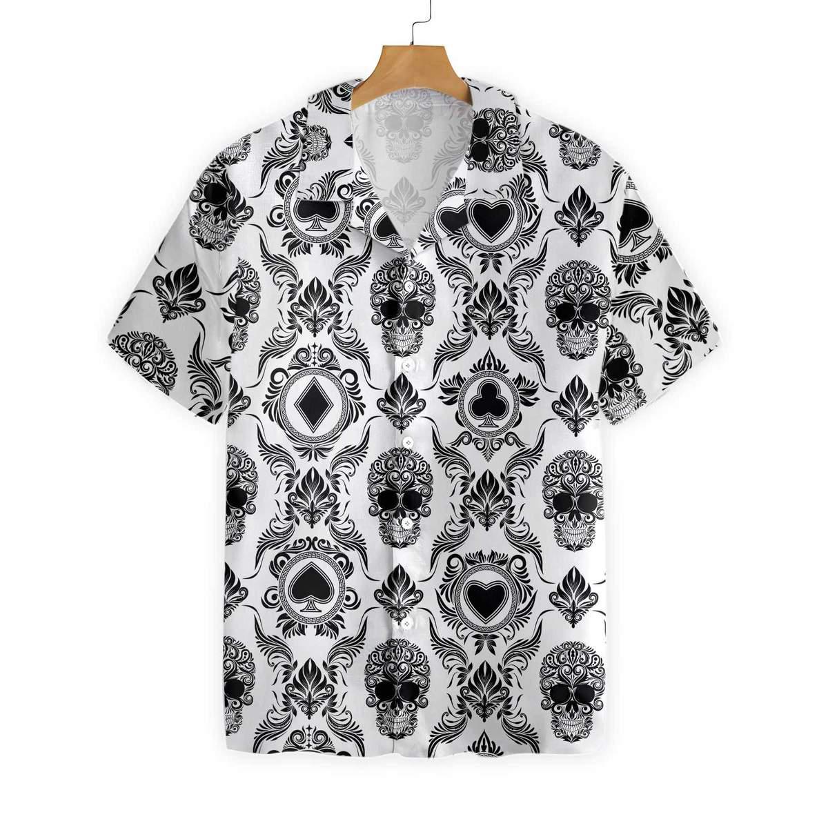 Casino And Black Skull Pattern Hawaiian Shirt 1