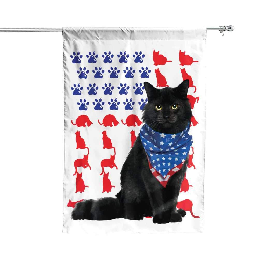 Cat Independence Day 4th Of July American House Flag