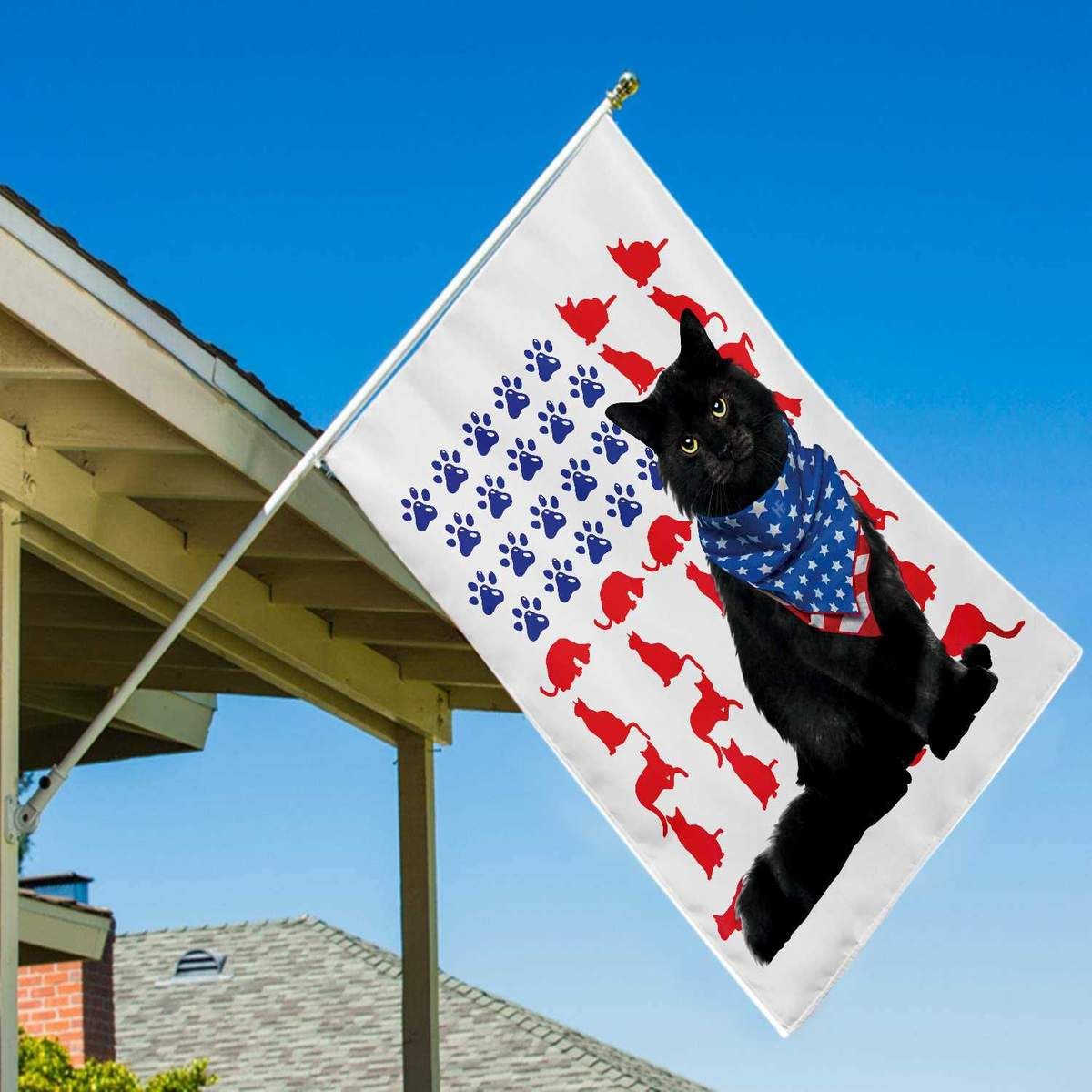 Cat Independence Day 4th Of July American House Flag3