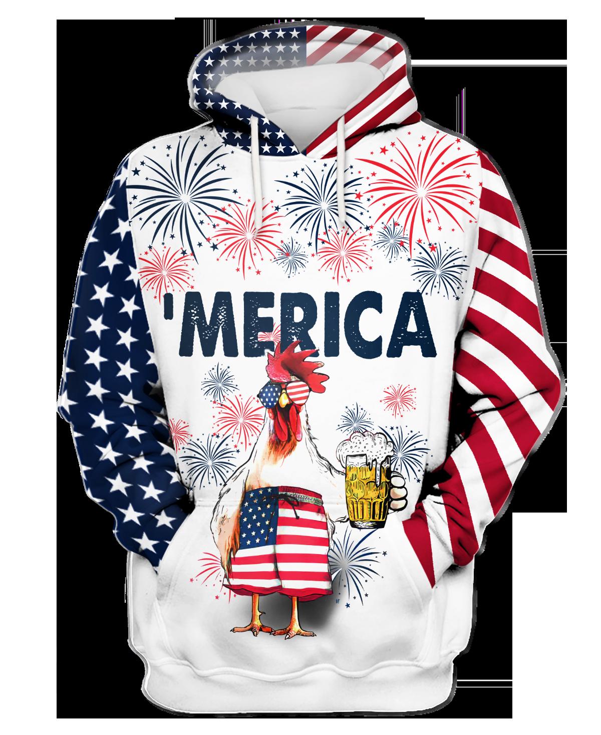 Chicken Beer America Hawaiian Hoodie 1