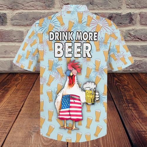 Chicken Beer Drink More Beer Hawaiian Shirt 4