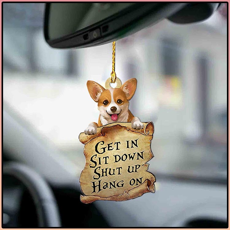 Corgi get in sit down shut up hang out ornament4