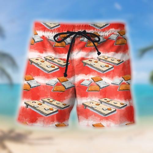 Cornhole Watercolor Hawaiian shirt shorts2