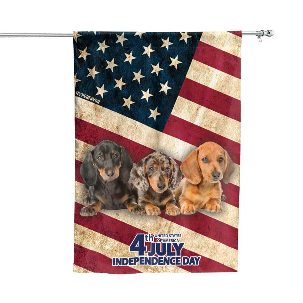 Dachshund Independence Day 4th Of July American House Flag