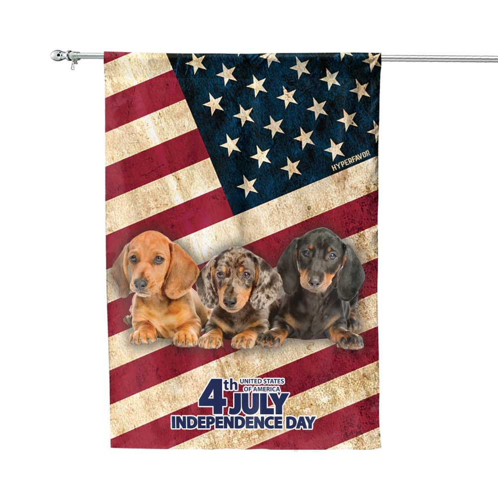 Dachshund Independence Day 4th Of July American House Flag1