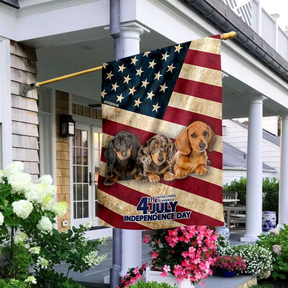 Dachshund Independence Day 4th Of July American House Flag2