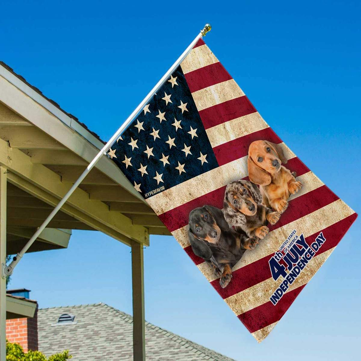 Dachshund Independence Day 4th Of July American House Flag3