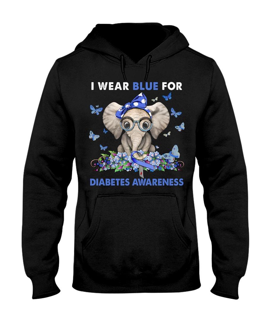 Elephant I Wear Blue For Diabetes Awareness Hoodie