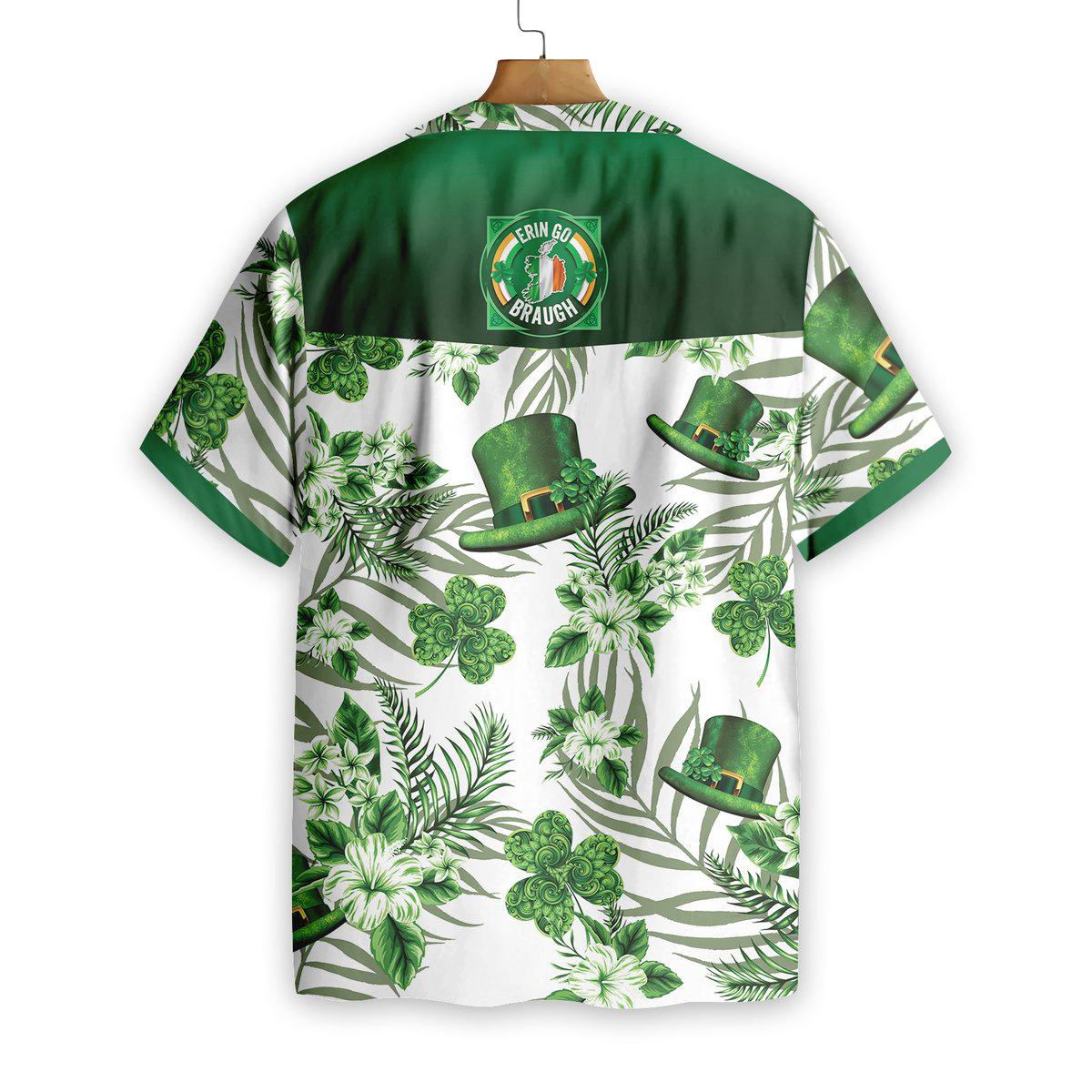 Erin Go Braugh Ireland Green Hat and Shamrock Pattern Hawaiian Shirt1