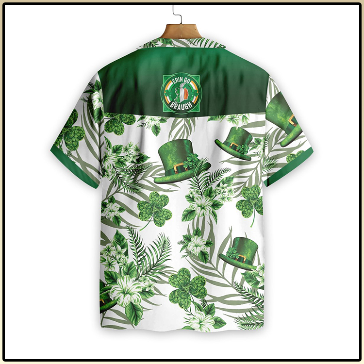 Erin Go Braugh Ireland Green Hat and Shamrock Pattern Hawaiian Shirt3