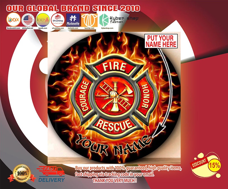 Firefighter Circle Round Rug Custom personalized name 3