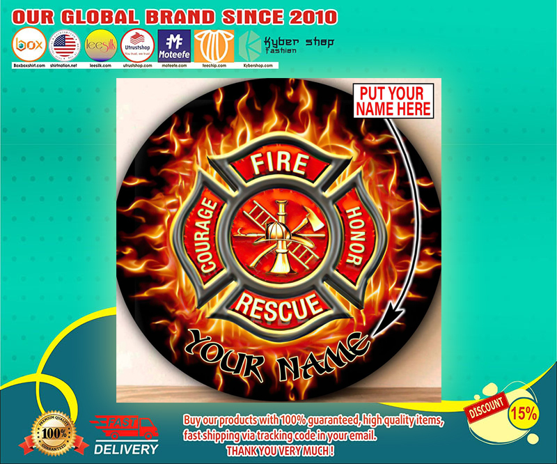 Firefighter Circle Round Rug Custom personalized name 4