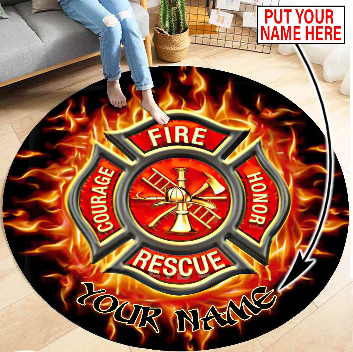 Firefighter Circle Round Rug Custom personalized name 8