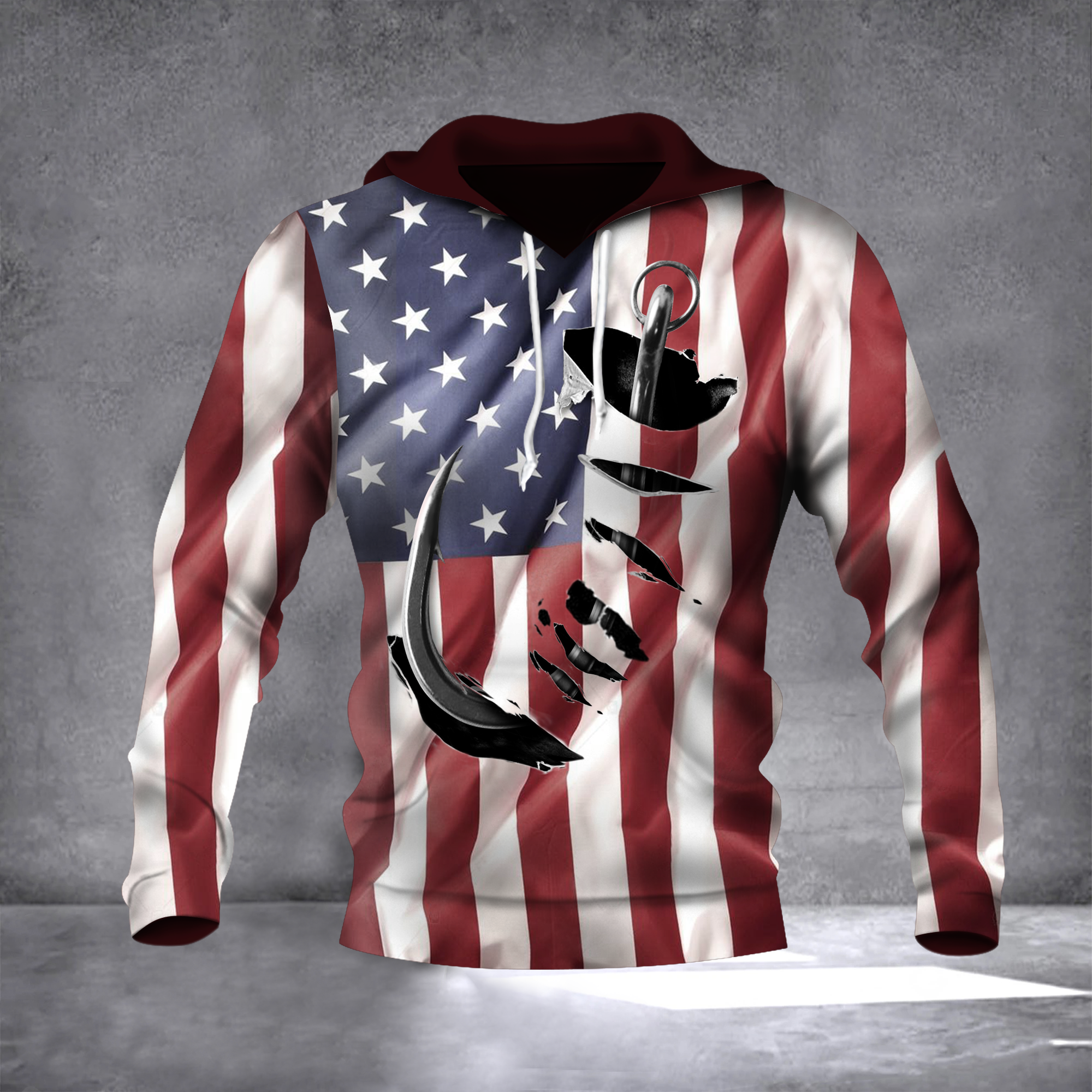Fish Hook American Flag Hoodie 3D Print All Over Patriotic USA Flag 4Th Of July Gift Ideas1