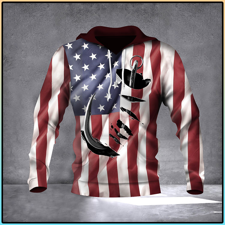 Fish Hook American Flag Hoodie 3D Print All Over Patriotic USA Flag 4Th Of July Gift Ideas2