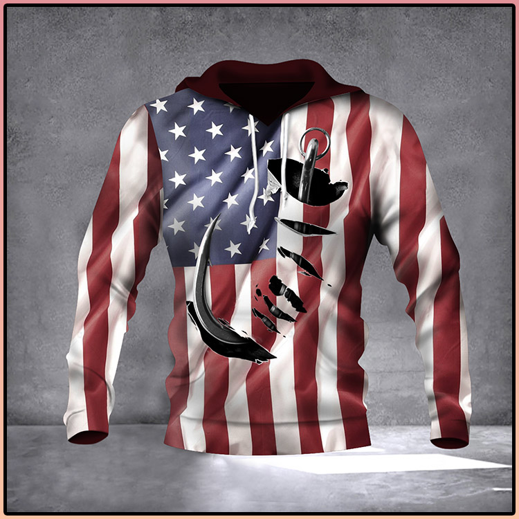 Fish Hook American Flag Hoodie 3D Print All Over Patriotic USA Flag 4Th Of July Gift Ideas3