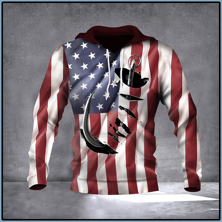 Fish Hook American Flag Hoodie 3D Print All Over Patriotic USA Flag 4Th Of July Gift Ideas4