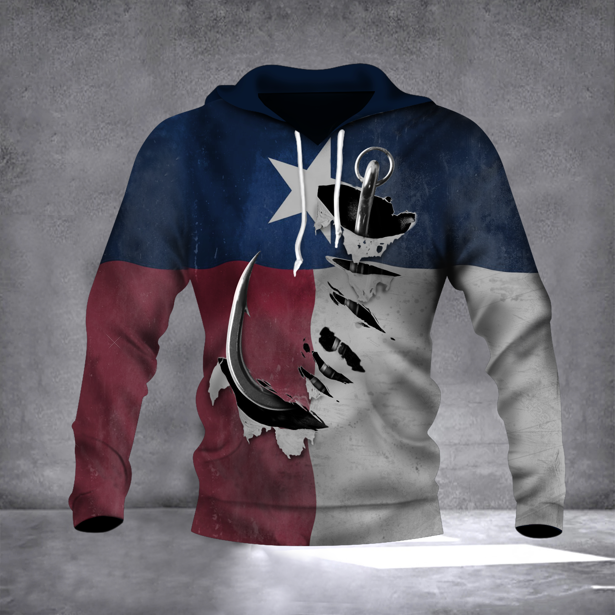 Fishing Hook Texas State Flag 3D Hoodie Old Vintage Pride Texan Hoodie Gift For Father1